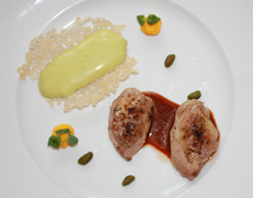 Quail Breast with Parmesan Cracker and Pistachio Foam