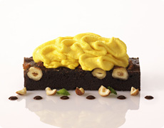 Sweet Pumpkin Mousse with Chocolate and Hazelnut Brownie