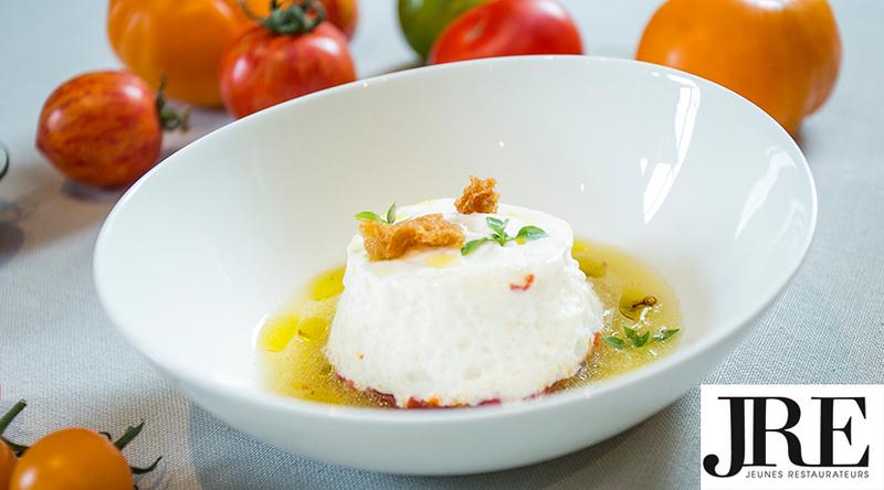Ricotta cream with iced tomato whey