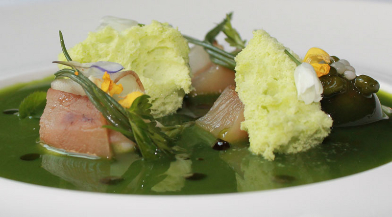 Frozen wild garlic sponge