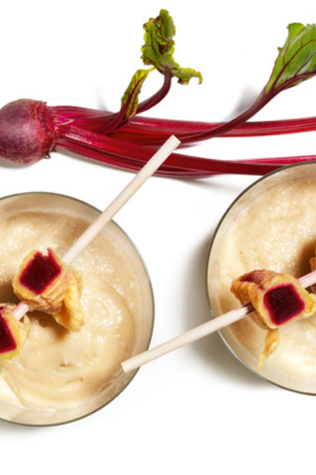 Jerusalem Artichoke Foam Soup with Beetroot Tempura Sticks